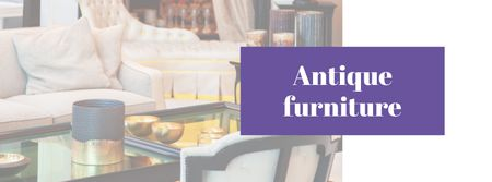 Plantilla de diseño de Antique Furniture Ad with Cozy Room Facebook cover