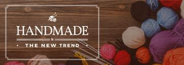 banner for handicrafts store with yarn