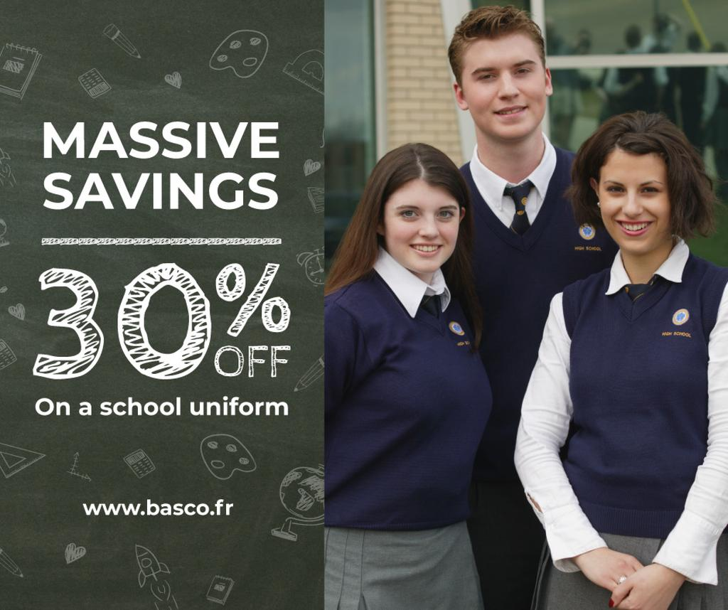 Back to School Sale Students in Blue Uniform | Facebook Post Template — Створити дизайн