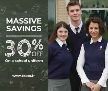 Back to School Sale Students in Blue Uniform | Facebook Post Template