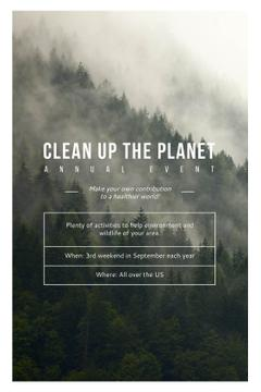 Ecological Event Announcement Foggy Forest View | Tumblr Graphics Template