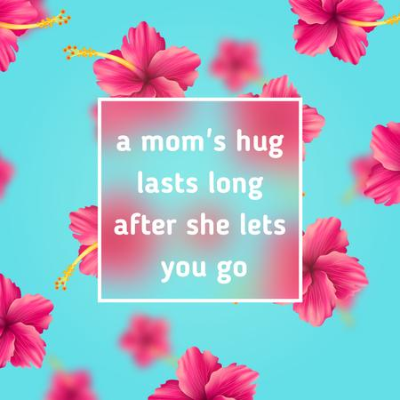 Designvorlage Mothers Day Greeting with Falling hibiscus Flowers with frame für Animated Post