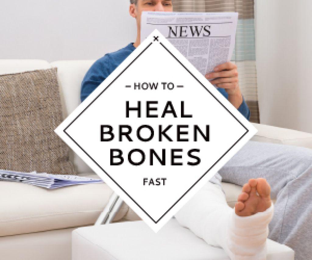 Man with broken bones sitting on sofa reading newspaper — ein Design erstellen