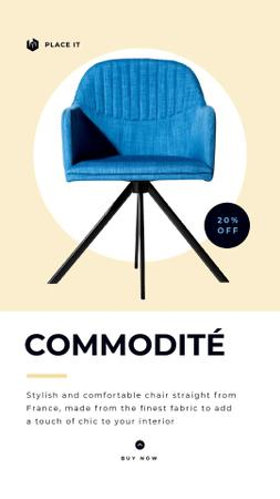 Plantilla de diseño de Furniture Shop Ad Blue Modern Armchair Instagram Video Story