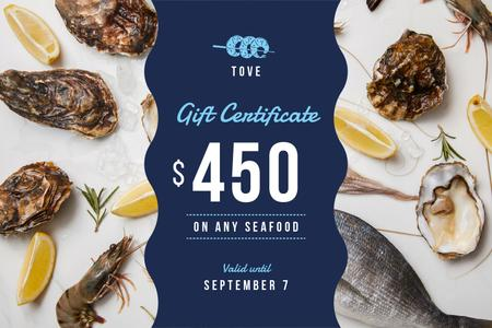 Plantilla de diseño de Restaurant Offer with Seafood and Fish Gift Certificate