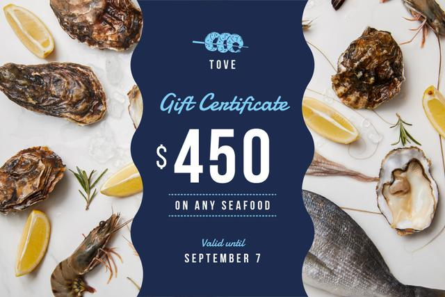 Restaurant Offer with Seafood and Fish Gift Certificate Design Template
