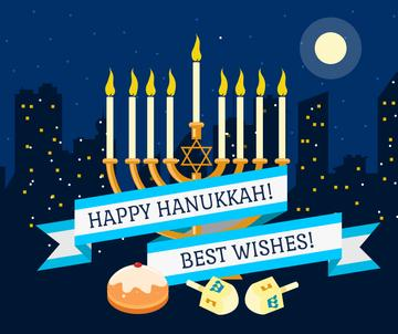 Happy Hanukkah Greeting with Menorah at night