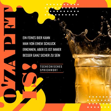 Ontwerpsjabloon van Instagram van Bar Offer Beer Splashes in Glass Mug