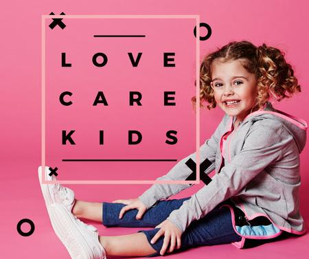 Child care concept with little Girl Facebook Modelo de Design