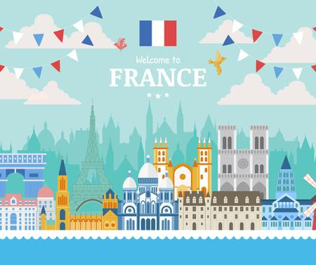 Template di design France famous travelling spots Facebook