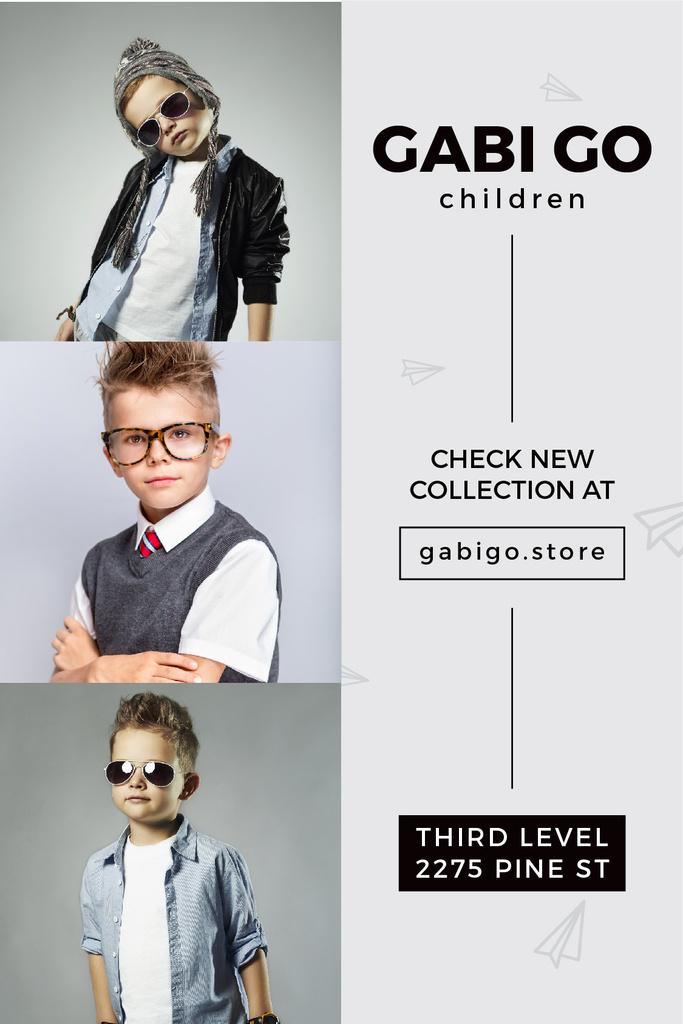 Children clothing store with stylish kids — Crea un design