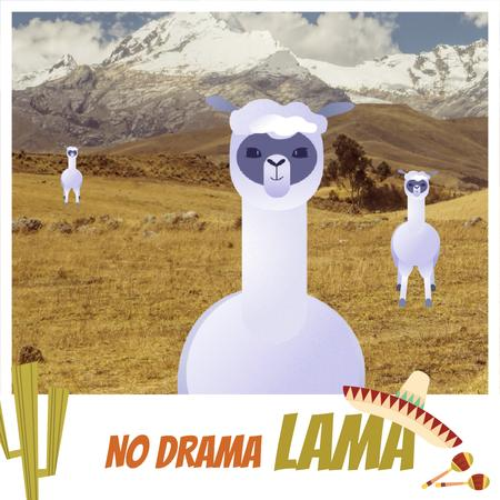 Plantilla de diseño de Funny Lamas in Pampas Animated Post