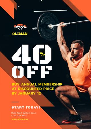Plantilla de diseño de Gym Promotion with Man Lifting Barbell Poster
