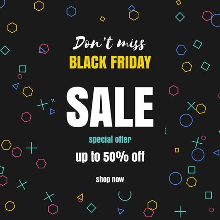 Black Friday with Bright spinning flickering elements Animated Post – шаблон для дизайну