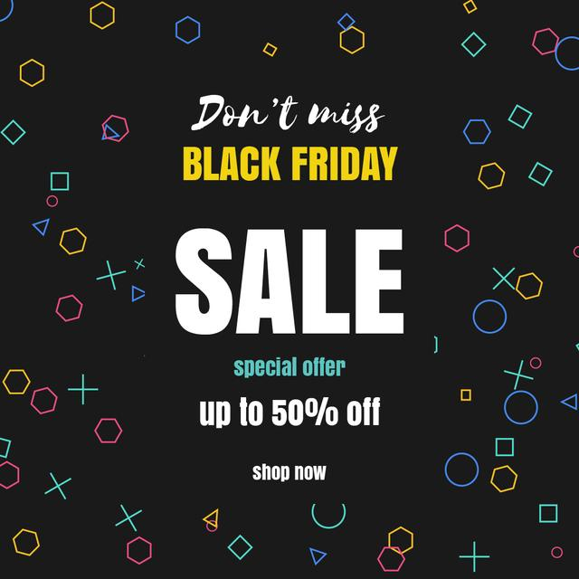Black Friday with Bright spinning flickering elements Animated Post Modelo de Design