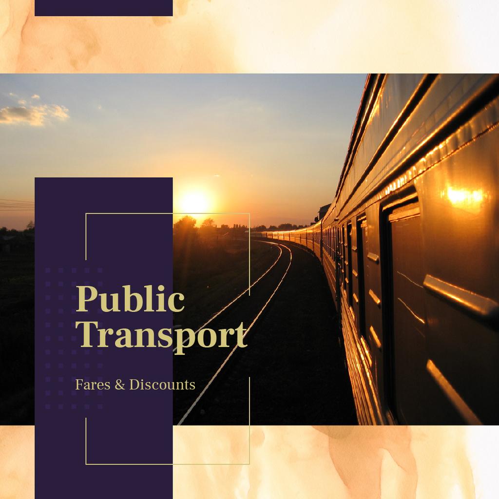 Railways in sunset landscape — Modelo de projeto