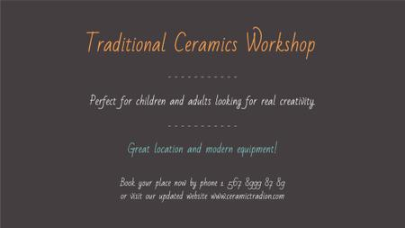 Traditional Ceramics Workshop promotion FB event cover Modelo de Design