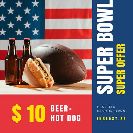 Ontwerpsjabloon van Instagram AD van Super Bowl food offer with Beer and Snacks