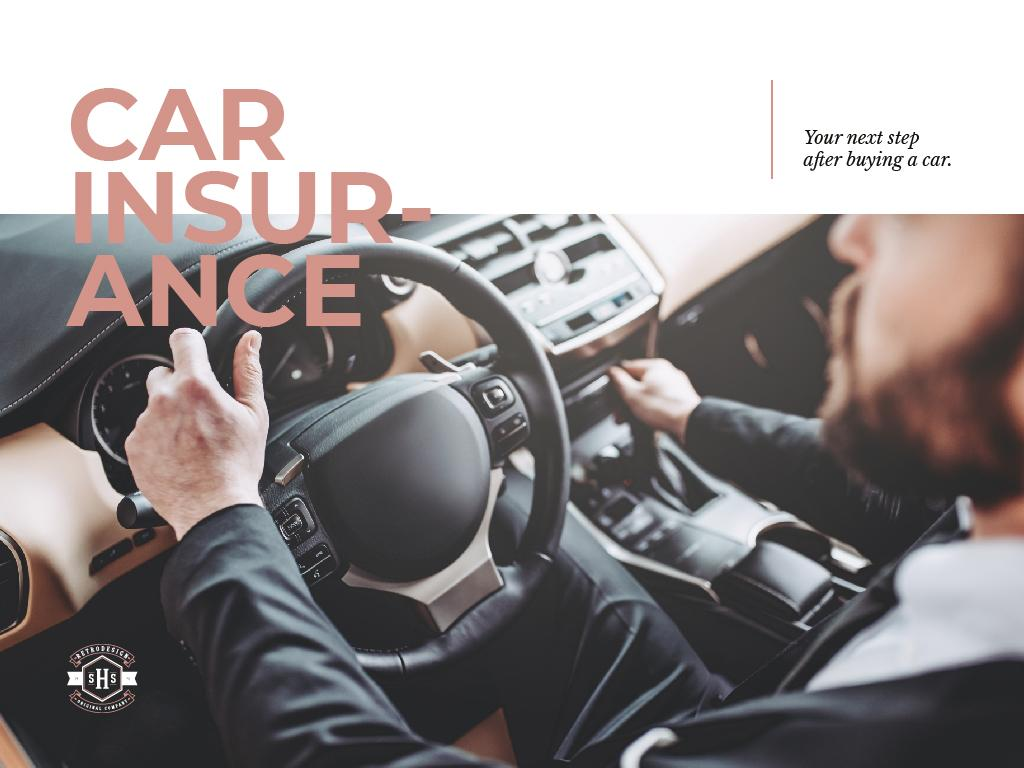 Car insurance with driver in car — Créer un visuel