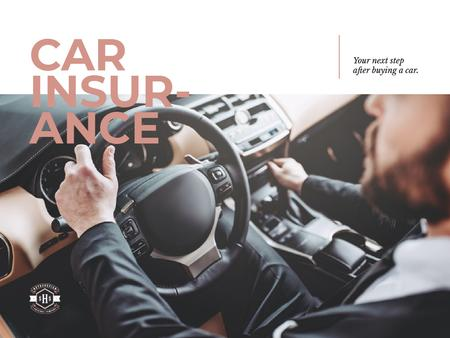 Plantilla de diseño de Car insurance with driver in car Presentation
