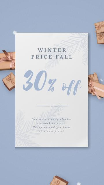 Plantilla de diseño de Christmas Gift Boxes Falling with Snow Instagram Video Story