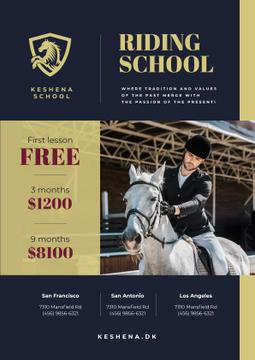Riding School Ad with Man Riding Horse