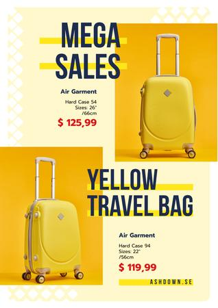 Travel Bags Sale Ad with Suitcases in Yellow Posterデザインテンプレート