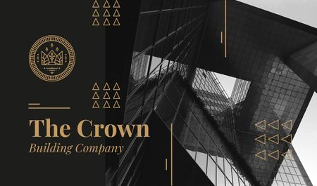 Building Company Ad with Glass Skyscraper in Black Business card Modelo de Design