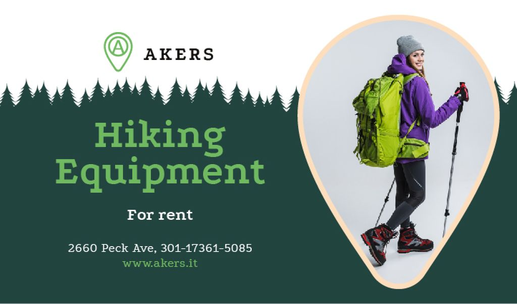 Hiking Equipment Ad Backpacker with Sticks — Create a Design