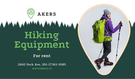 Hiking Equipment Ad with Backpacker and Sticks Business card Modelo de Design