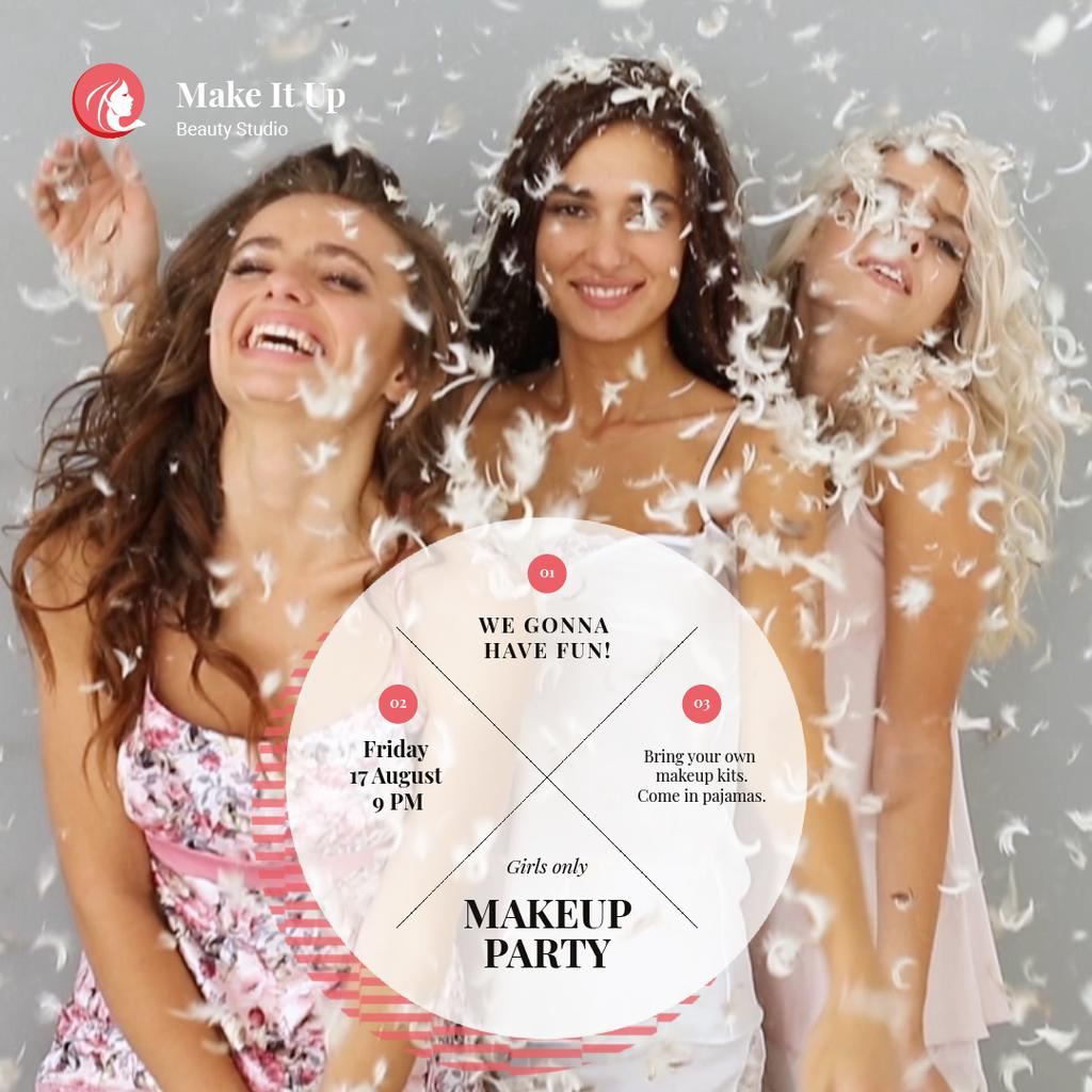Makeup Party Invitation with Girls Having Fun in Feathers — Crear un diseño