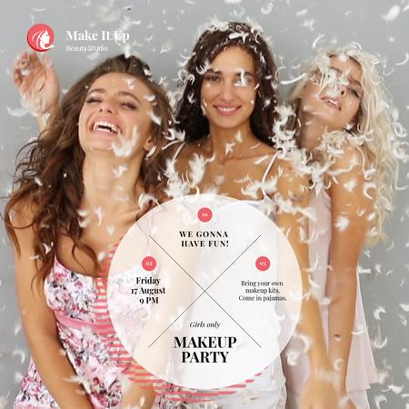 Plantilla de diseño de Makeup Party Invitation with Girls Having Fun in Feathers Animated Post