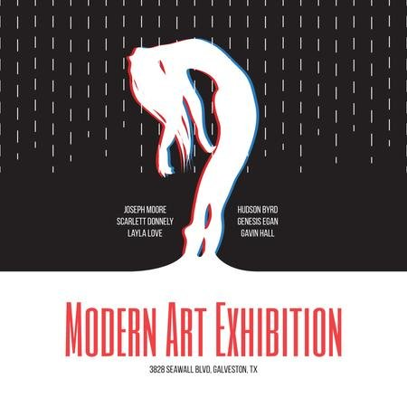 Modern Art Exhibition Announcement with Female Silhouette Instagram Modelo de Design