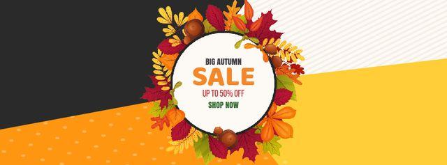 Ontwerpsjabloon van Facebook Video cover van Autumn leaves frame