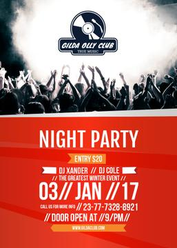Night Party Invitation Crowd in the Club | Flyer Template