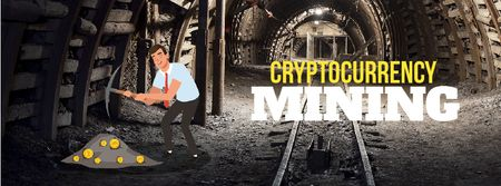 Ontwerpsjabloon van Facebook Video cover van Man mining cryptocurrency