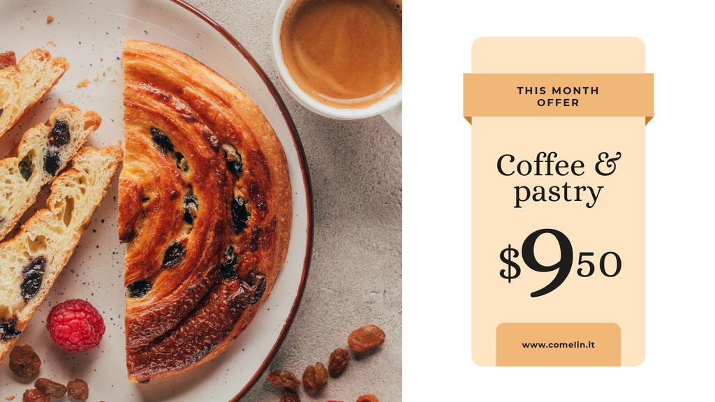 Cafe Promotion Coffee and Pastry on Table — Maak een ontwerp