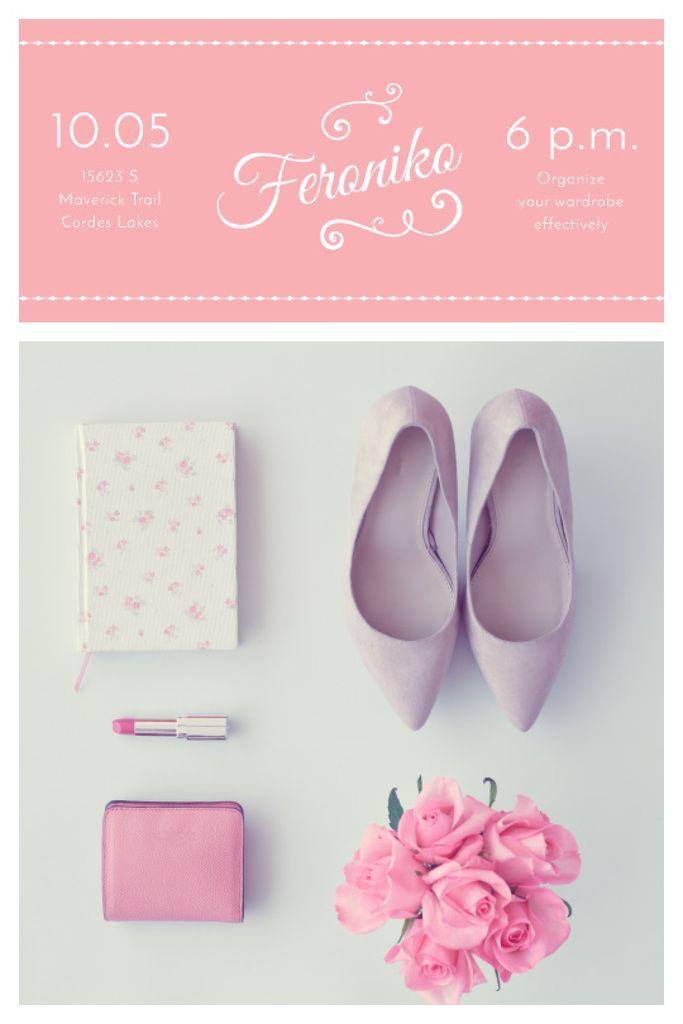 Plantilla de diseño de Fashion Event Announcement Pink Outfit Flat Lay Tumblr