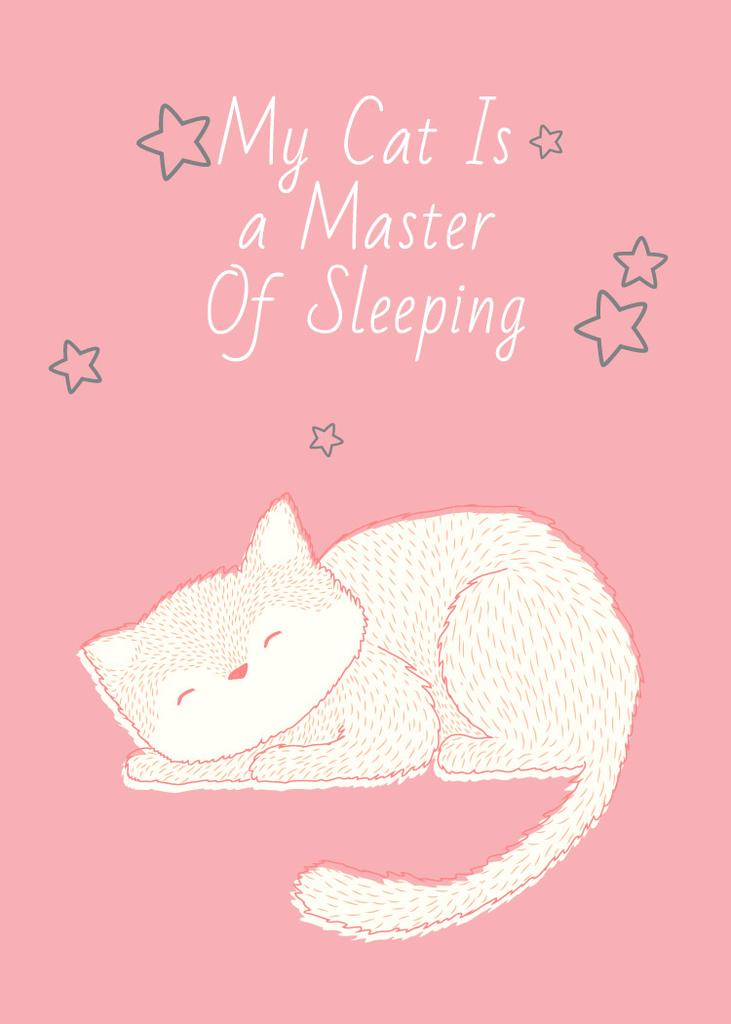 Cute Cat Sleeping in Pink — Modelo de projeto