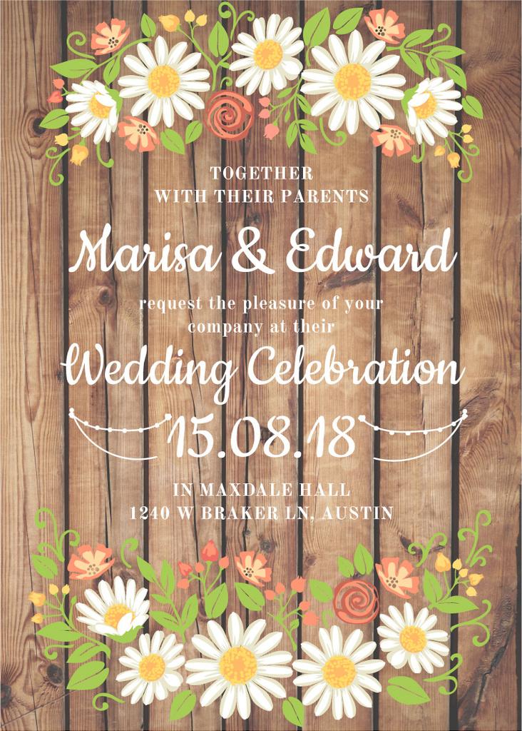 Wedding Invitation with Flowers on Wooden Background Flyer — Crea un design