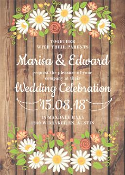 Wedding Invitation with Flowers on wooden background