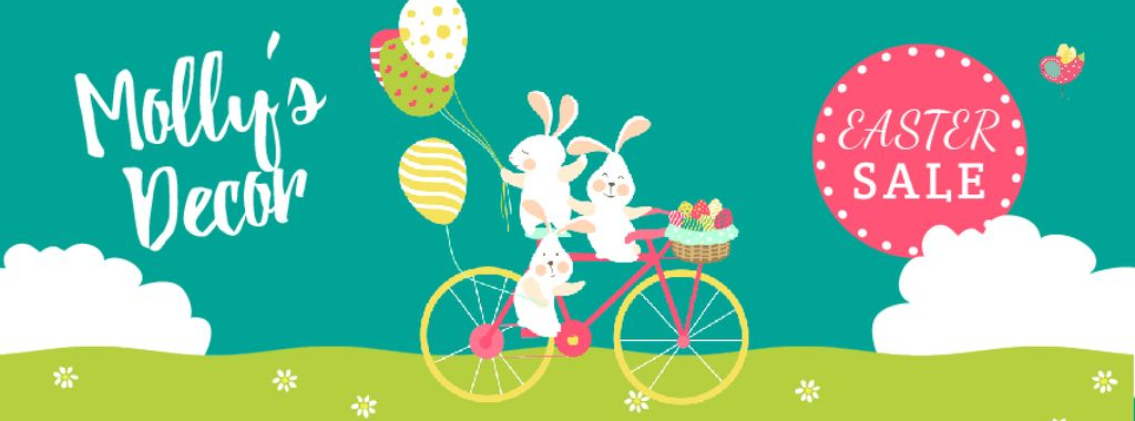 Easter Greeting with Bunnies and Colored Eggs | Facebook Video Cover Template — Crea un design