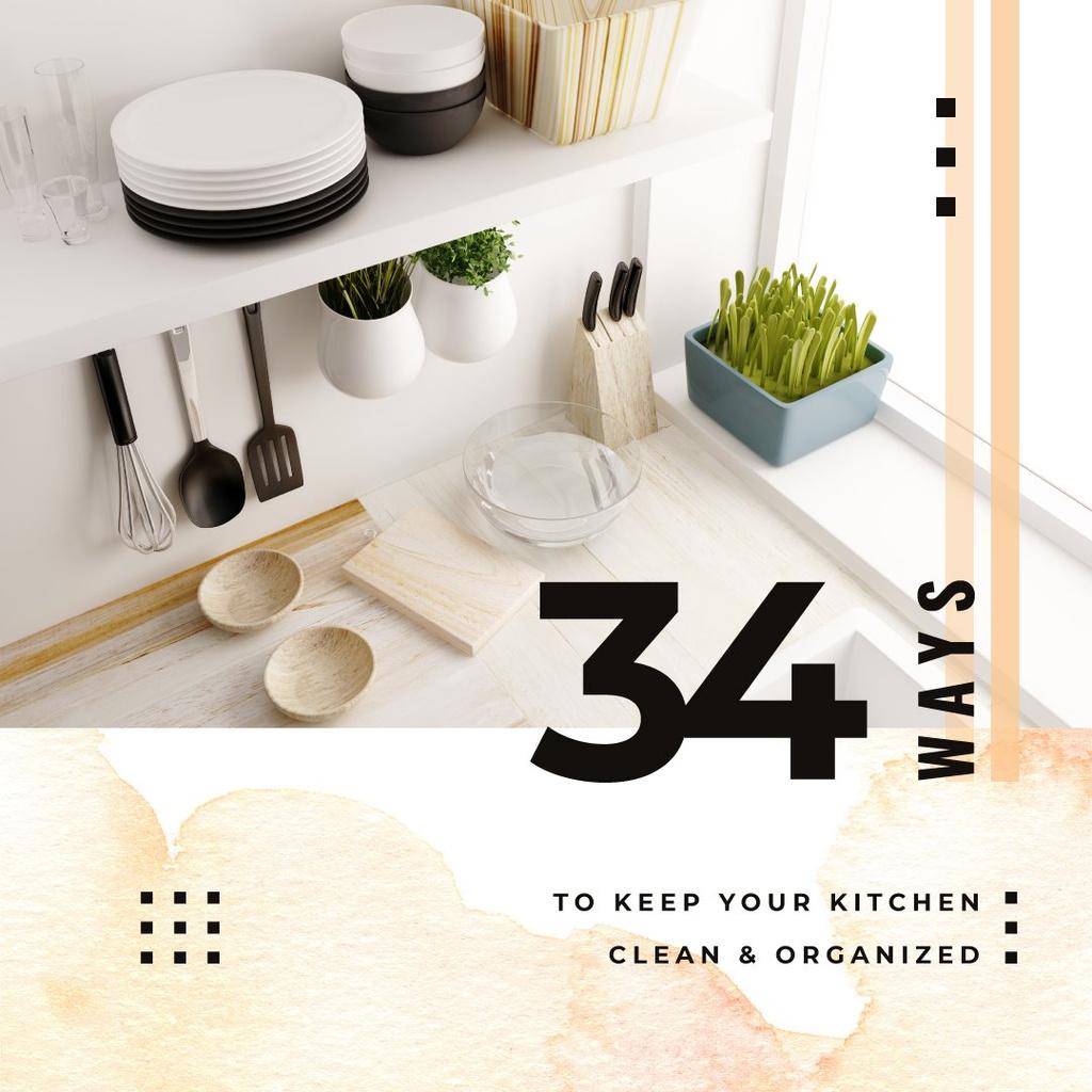 Kitchen utensils on shelves Instagram Design Template
