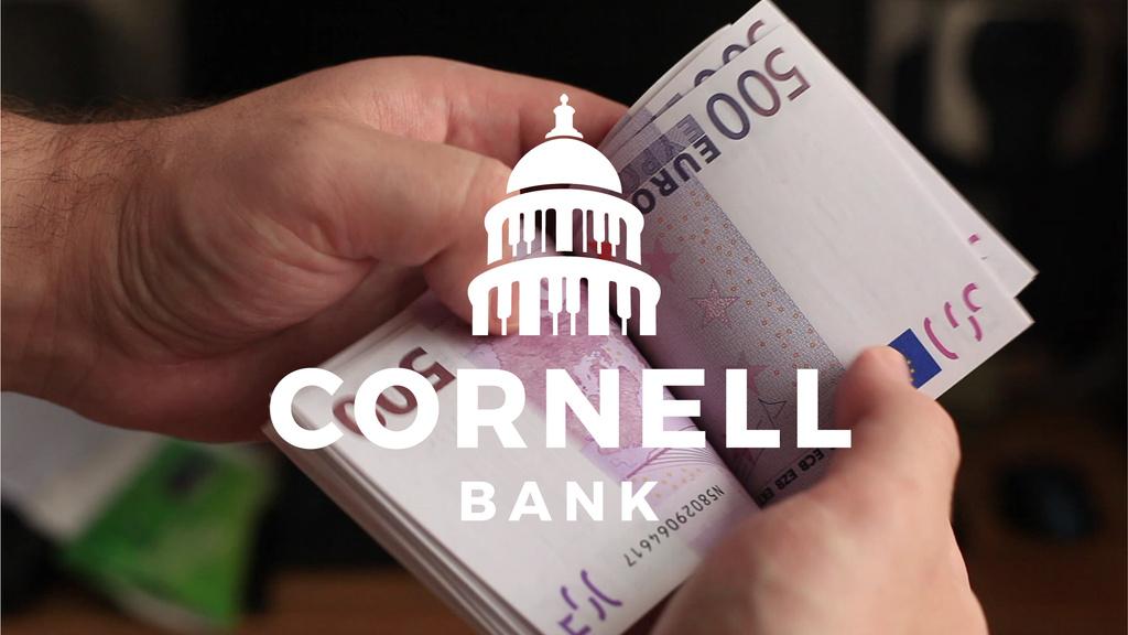 Bank Services Offer Man Counting Euro Banknotes — Crear un diseño