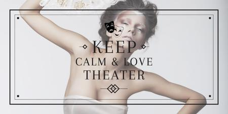 Citation about love to theater Image Design Template