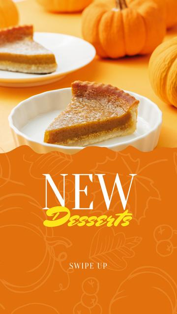 Pumpkin Pie for cafe offer Instagram Story Modelo de Design