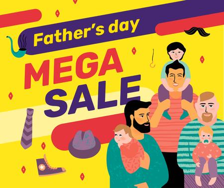 Plantilla de diseño de Father's Day Sale dads with their children Facebook