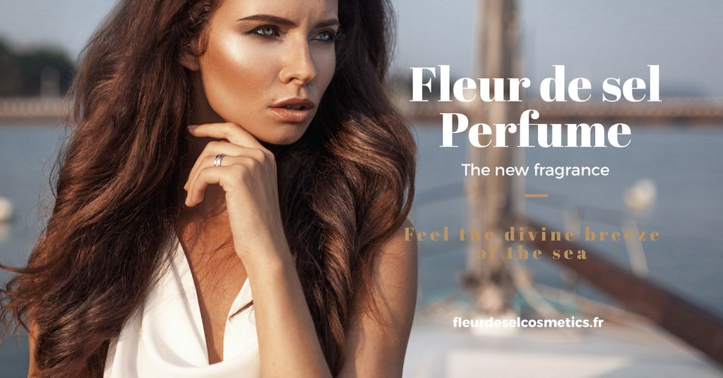 new perfume advertisement poster with beautiful young woman  — Створити дизайн