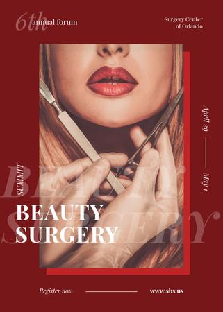 Ontwerpsjabloon van Invitation van Woman at plastic Surgery clinic