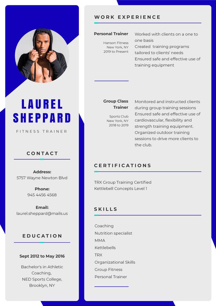Fitness trainer professional skills and experience Resume – шаблон для дизайну